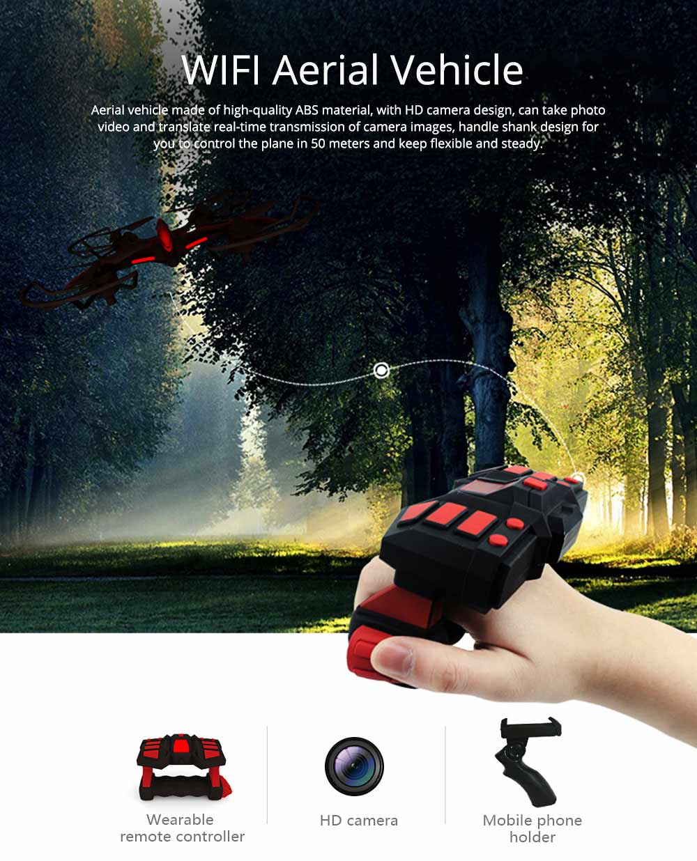 WIFI Aerial Vehicle for Photography Enthusiast Multifunctional Flying Camera with HD Camera Handle Shank Aerial Photo Machine 0