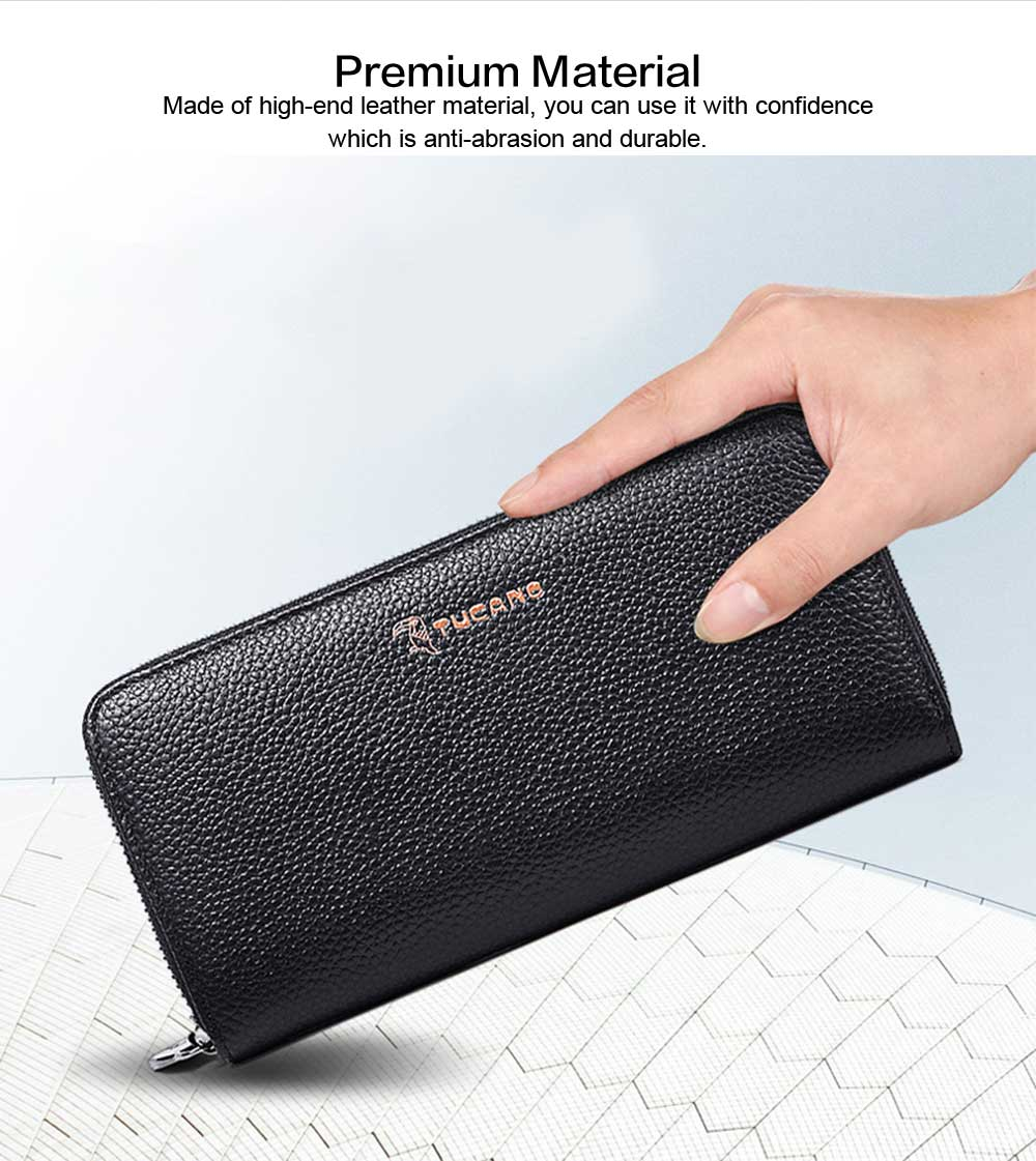 Male Vertical Leather Wallet with Thin Zip European & American Fashion Multi-card Clutch Wallet , Wallets for Young Men 1