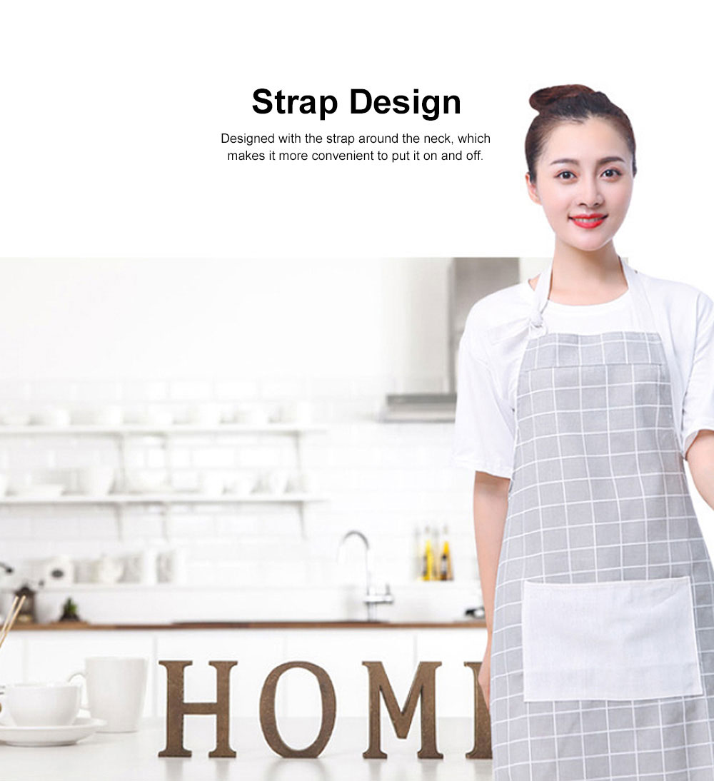 Fashionable Apron for Kitchen 100% Cooking Apron with Pocket Aprons with Strip Dot Printing Patterns Household Accessory 2