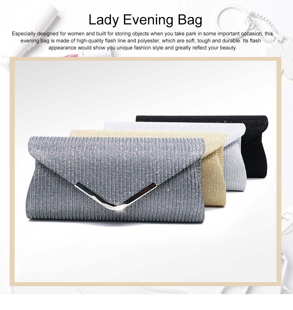 Fancy Elegance Flash Ladies Shoulder Evening Bag Soft Polyester Socialite Hand Bag Cosmetic for Women 0