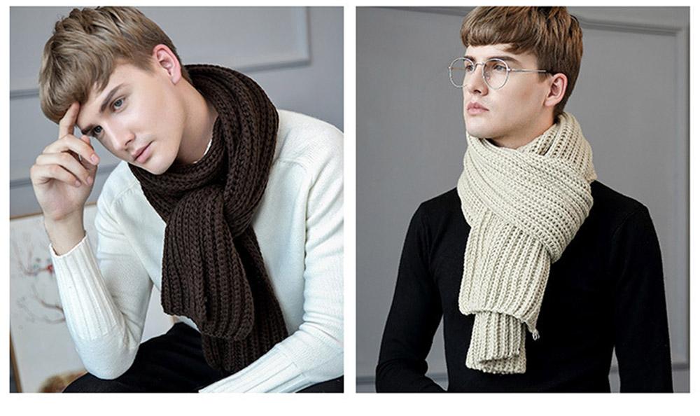 New Wool Scarf Soft Tippet Longitudinal Knitting for Women Men Keep Warm Skin-friendly Muffler Winter 8