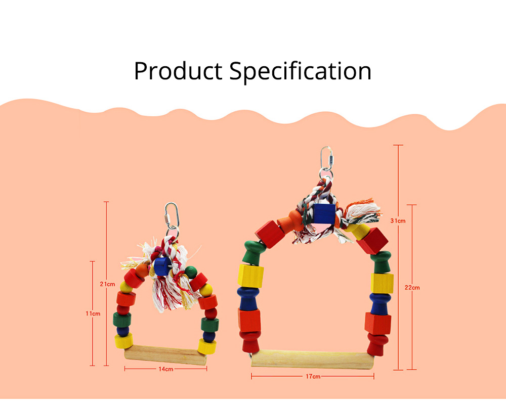 Solid Wood Climb Frame for Parrot Colorful Strap Round Pet Supplies, Safe Non-toxic Iron Ring Real Wood Pet Toys 7