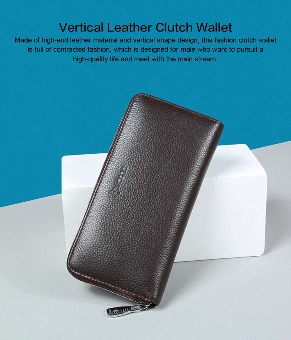 Male Vertical Leather Wallet with Thin Zip European & American Fashion Multi-card Clutch Wallet , Wallets for Young Men 0