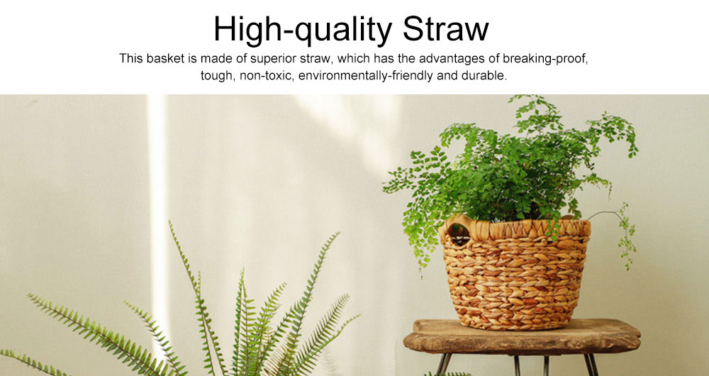 Creative Minimalist Garden Straw Weaving Flower Basket, Delicate Rattan Weaving Storing Basket Decoration with Double Handle 2