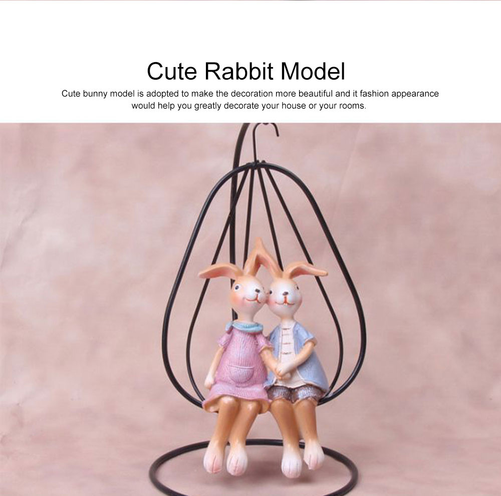 Creative Cute Delicate Rabbit Resin Metal Ornament Breaking-proof Bunny Living Room Study Table Decoration 6