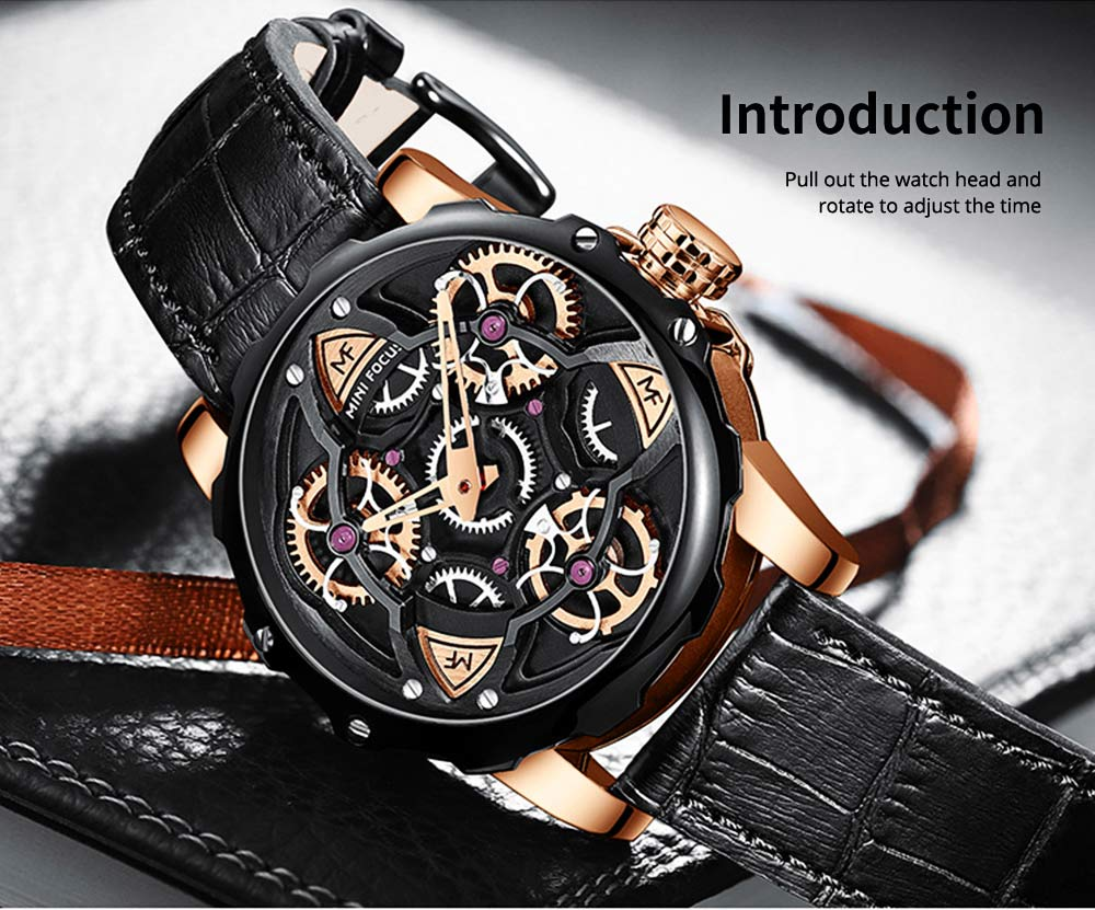 Men's Mechanical Watch Japanese Movement Business Quartz Watch with Gear Gyro Leather Watch Band 7