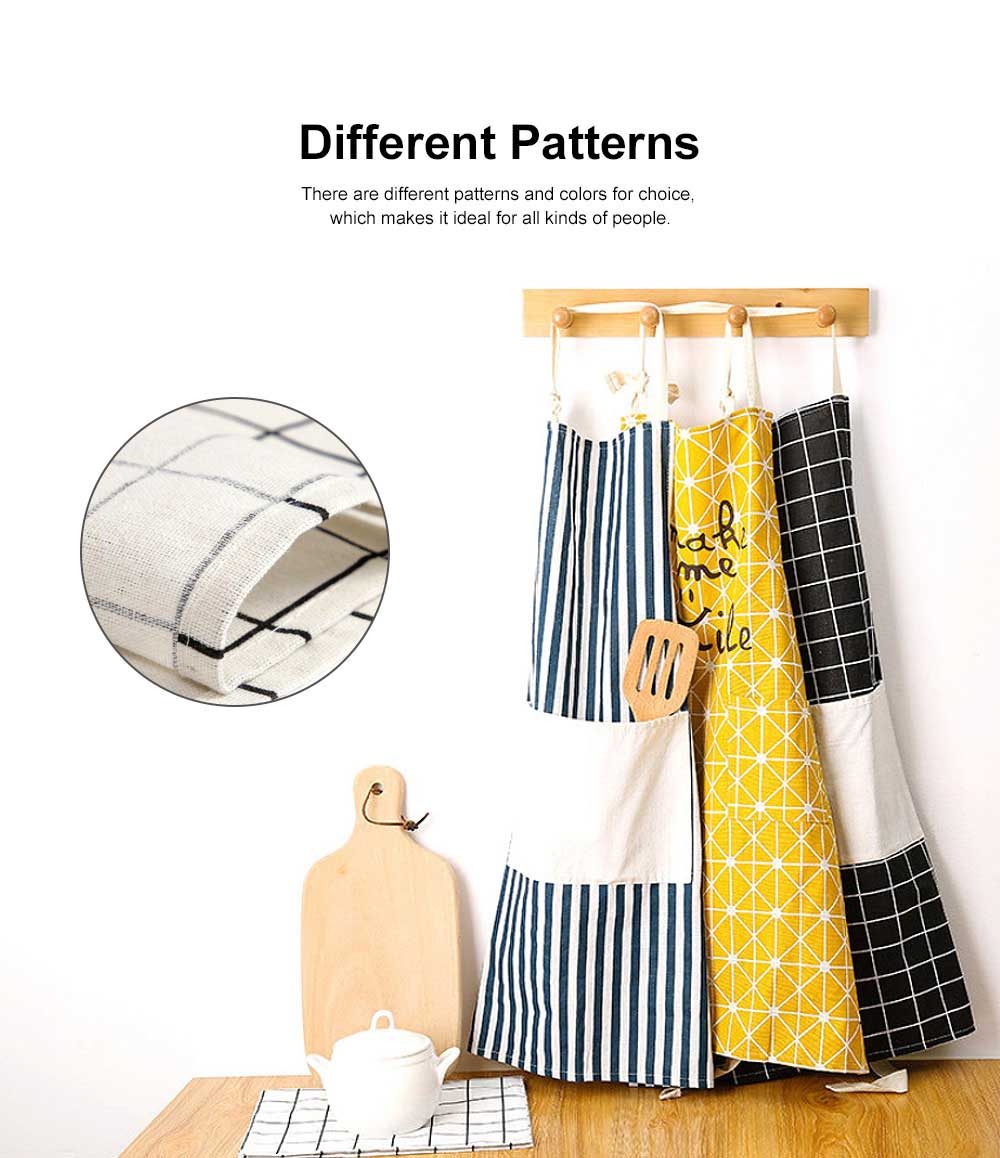 Fashionable Apron for Kitchen 100% Cooking Apron with Pocket Aprons with Strip Dot Printing Patterns Household Accessory 1