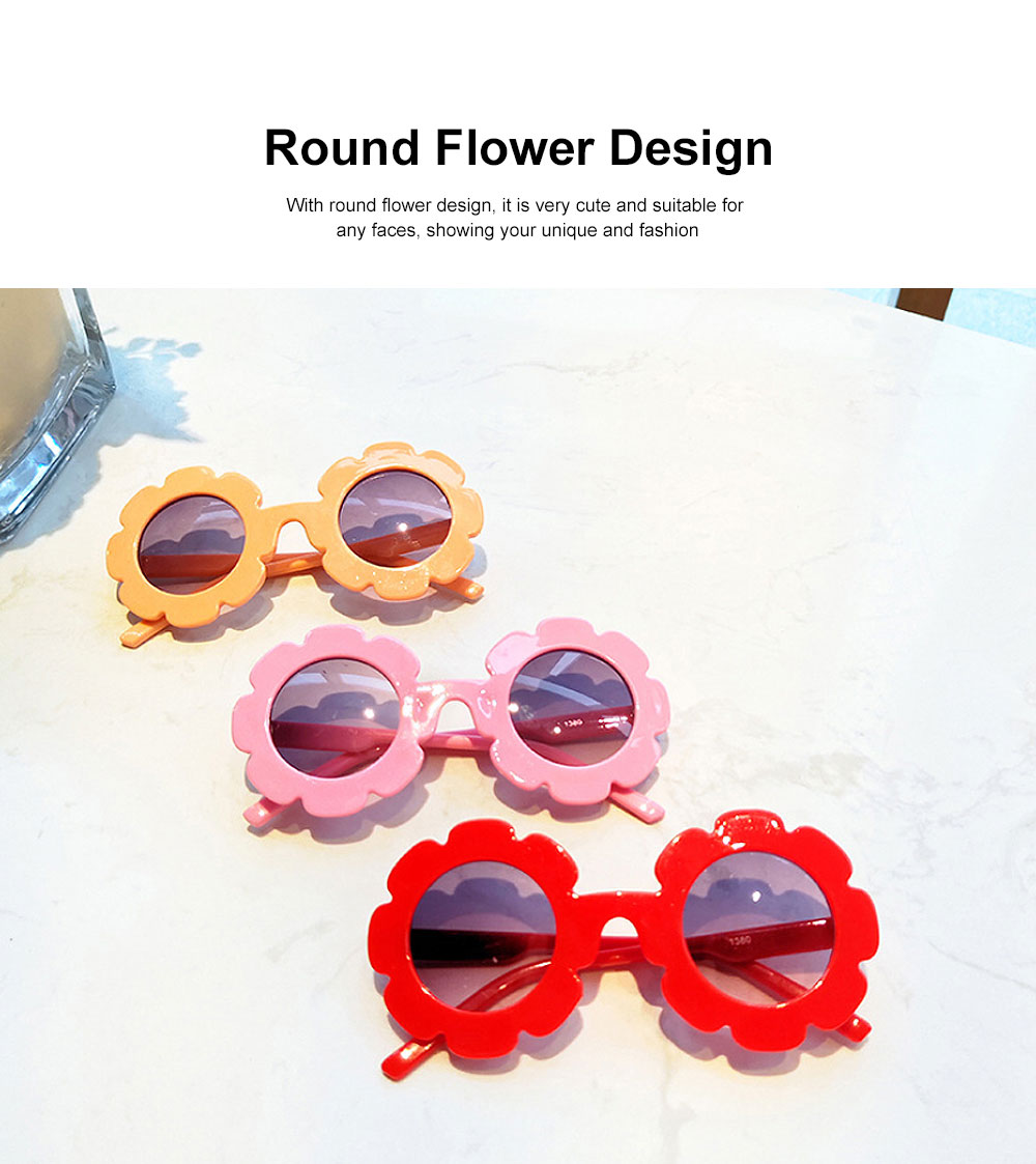 Baby Kids Vintage Flower Round Anti-UV Sunglasses Colorful Cute Eyewear for Party Photography Outdoor Beach 2