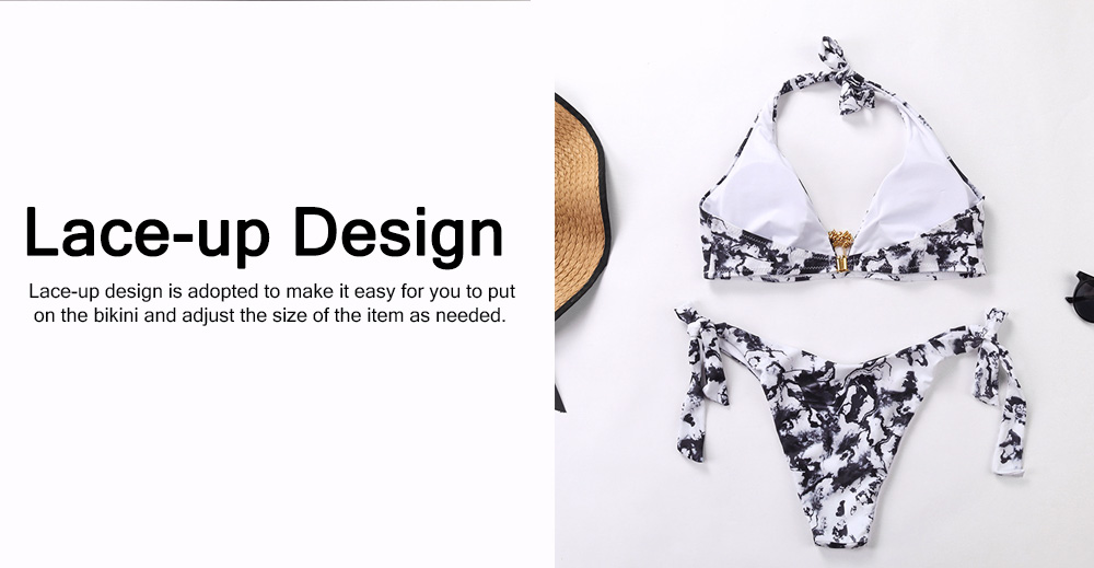 Sexy Stylish Ladies Ink Painting Bikini Swimsuit Skin-friendly Elastic Female Push-up Padded Swimwear Set 2