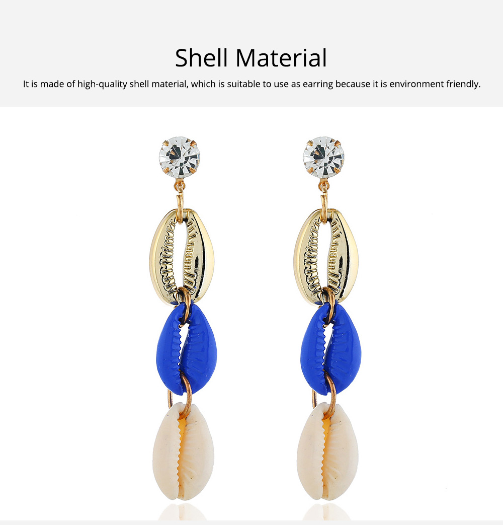 Long Conch Earrings for Women Colorful Option Set Auger Design Western Style Multilayer Colored Shell Stud Earring 5