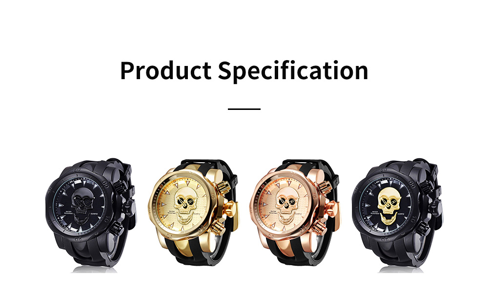 Skull Wrist Watch for Men Rotatable Circle Rubber Strap Contracted Pin Buckle Stainless Steel Sturdy and Durable Personality Watch 6