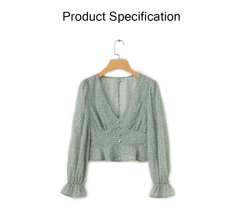 Lady Chiffon Shirt Deep-v Collar Flapper Tops Garment Design Long Sleeve Green Georgette Clothe for Women 6