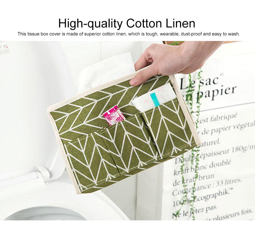 Minimalist Functional Geometric Pattern Tissue Box Cover, Waterproof Wearable Cotton Linen Facial Paper Organizer Holder 1