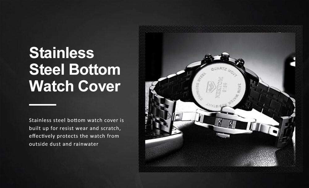Men's Quartz Watch Multifunctional Waterproof Wrist Watch Scratch Proof Fashion Accessory Watch 5