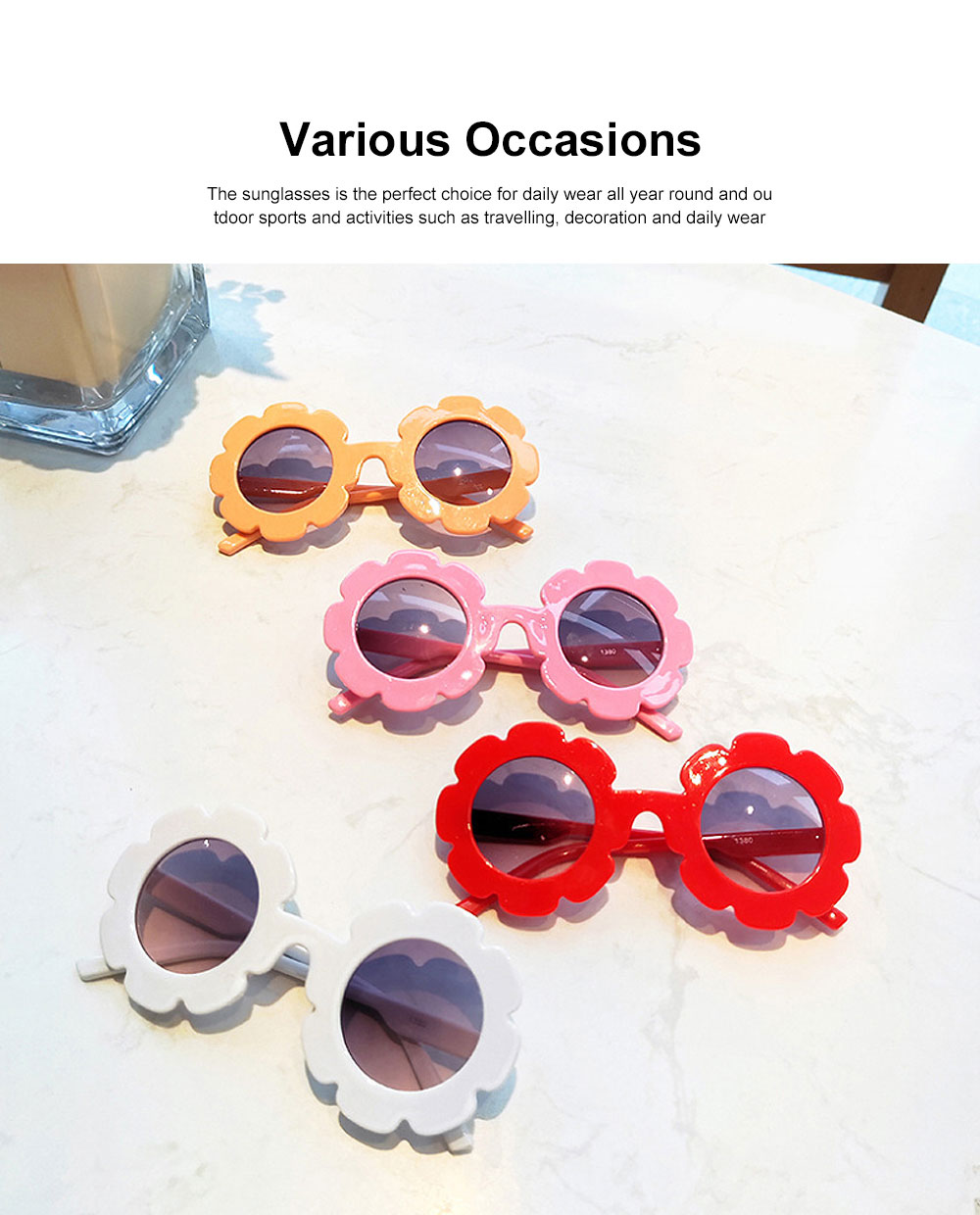 Baby Kids Vintage Flower Round Anti-UV Sunglasses Colorful Cute Eyewear for Party Photography Outdoor Beach 1