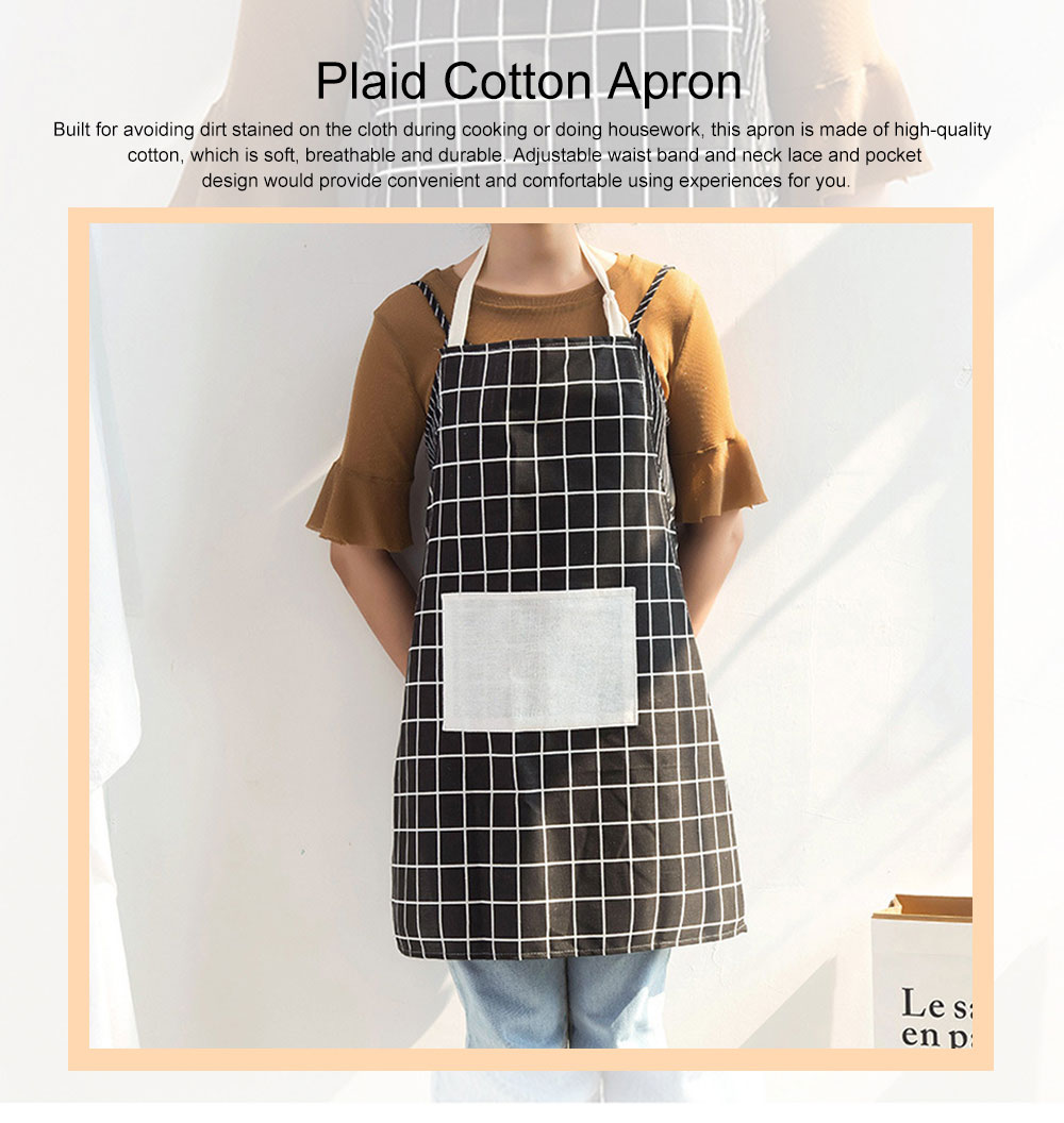 Minimalist Fashion Plaid Cooking Kitchen Cotton Apron Waterproof Dust-proof Adjustable Adult Waist Cloth with Pocket Aprons 0