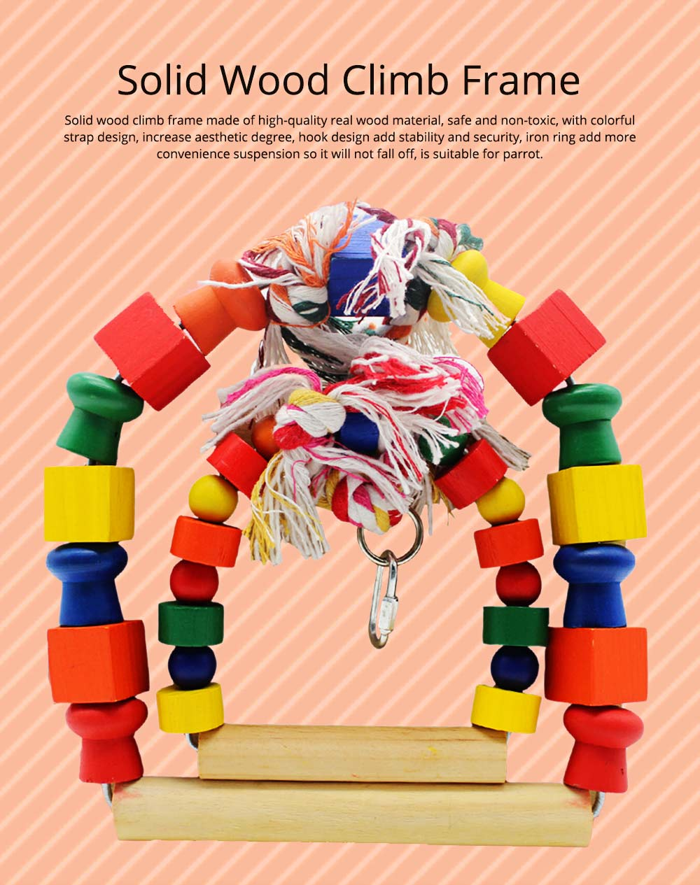 Solid Wood Climb Frame for Parrot Colorful Strap Round Pet Supplies, Safe Non-toxic Iron Ring Real Wood Pet Toys 0