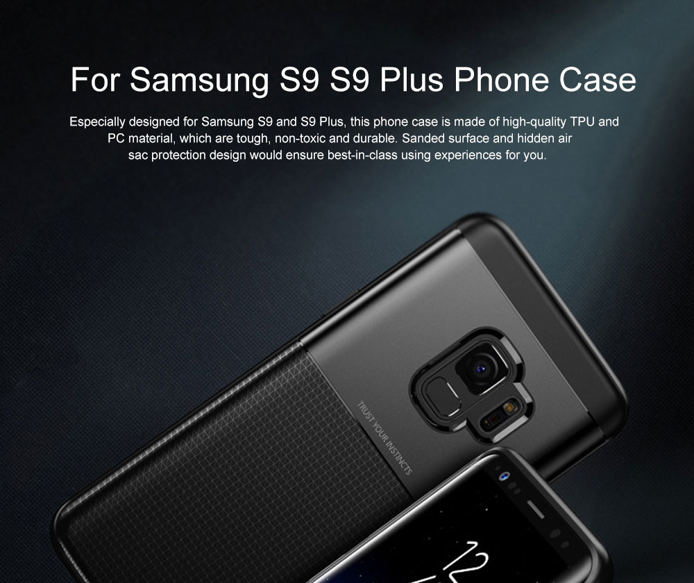 Quality TPU PC Carbon Fiber Sanded Phone Case for Samsung Galaxy S9 plus, Tough Skin-friendly Samsung S9 Mobile Phone Protective Back Cover 0