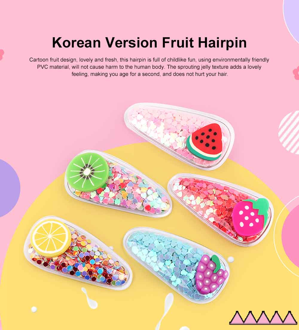Korean Version Cute Light Fruit Hairpin PVC Jelly Hairpin Princess Clip For Girl 5 pcs Per Pack 0