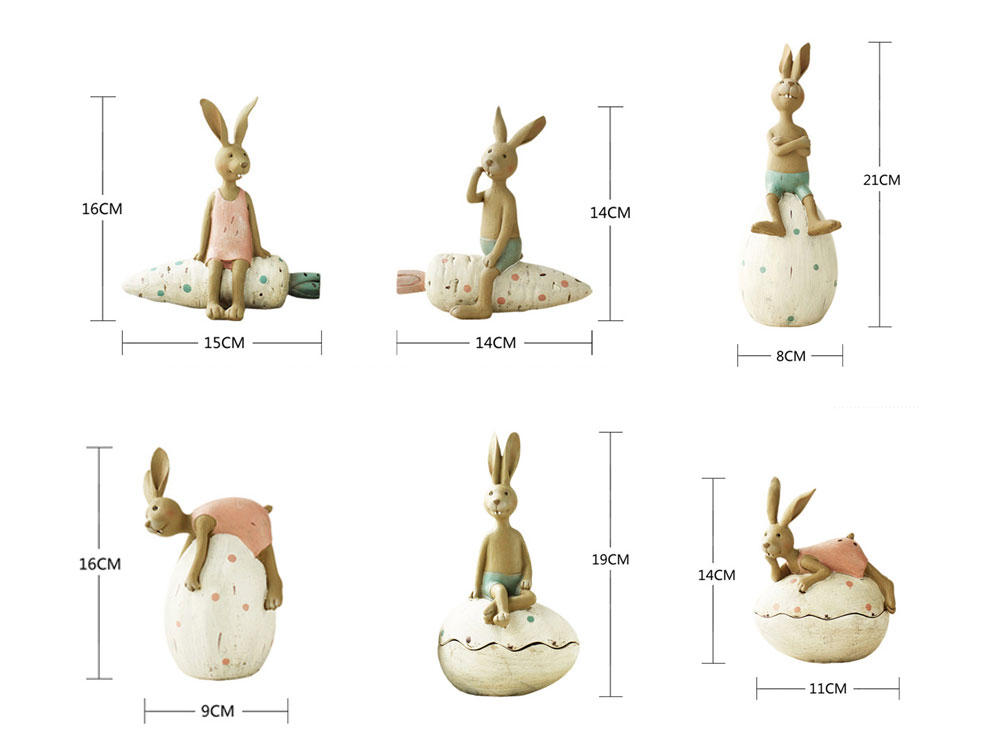 Cute Cartoon Rabbit Egg Carrot Model Resin Saving Pot Creative Bunny Easter's Day Table Ornament Decoration 9