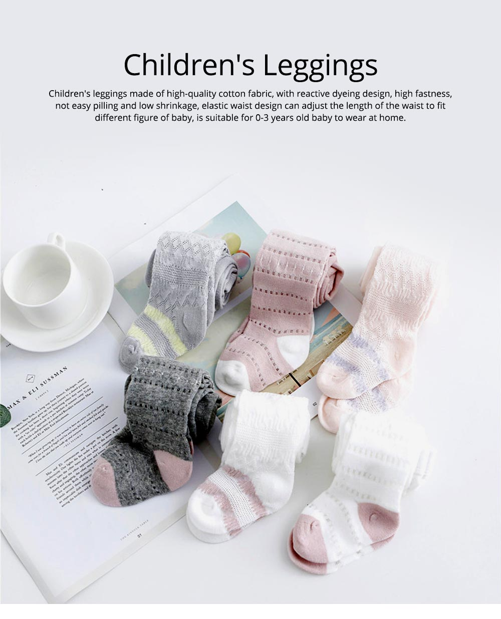 Children's Leggings for 0-3 Years Old Baby Reactive Dyeing Elastic Waist Wear-resisting Sole Skin-friendly and Comfortable Pantyhose 0