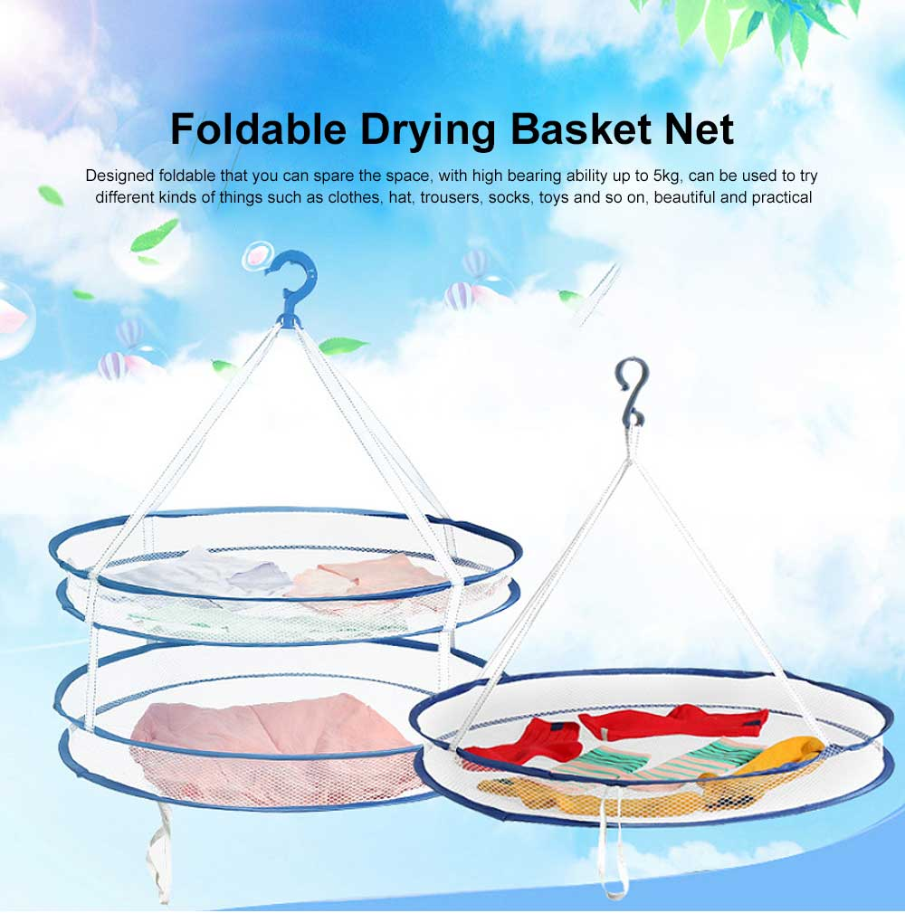 Foldable Drying Basket Hanging Net Retractable Drying Rack for Clothes, Underwear, Bra, Socks, Sweaters, Single, Double-Layer Drying Basket Net 0