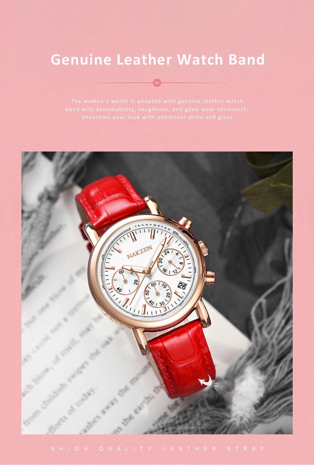 Fashion Women Watch Japanese Quartz Movement Wrist Watch with Calendar Genuine Leather Watch Strap Quartz Watch 5