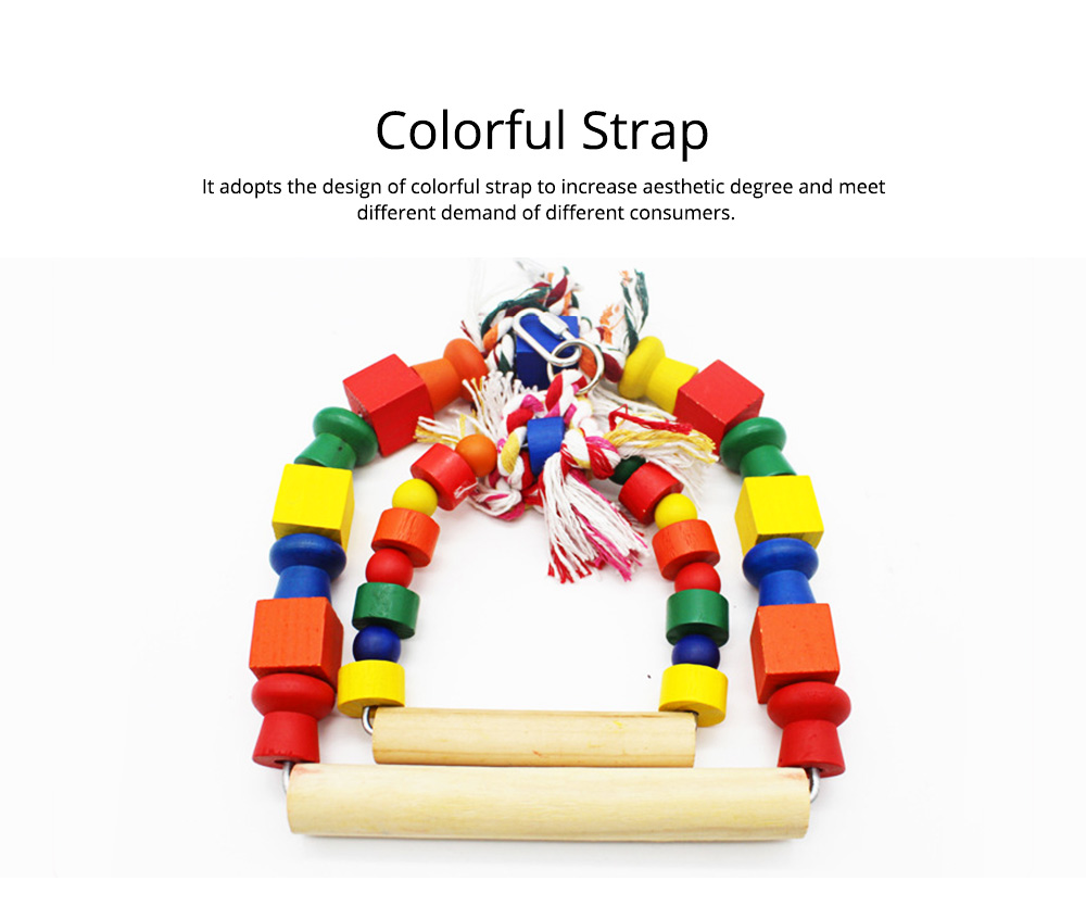 Solid Wood Climb Frame for Parrot Colorful Strap Round Pet Supplies, Safe Non-toxic Iron Ring Real Wood Pet Toys 1