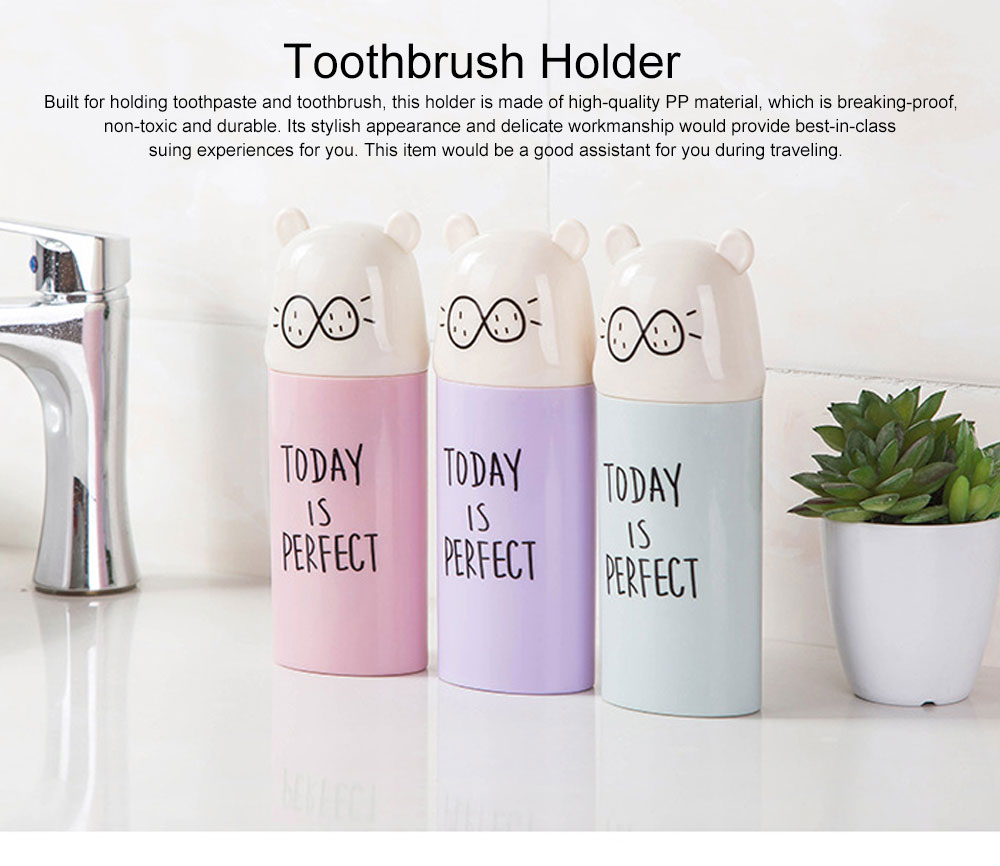 Cute Carton Portable Travel Toothpaste Toothbrush Holder, Breaking-proof PP Outdoors Toiletries Storage Case Cup 0