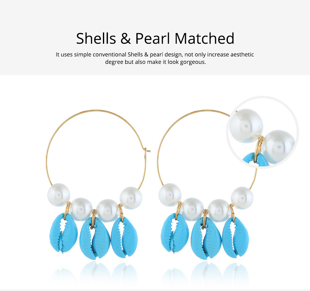 Pearl Shell Earring for Women Western Style Roundness Multicolor Optional Environment Friendly Ear Stud 4