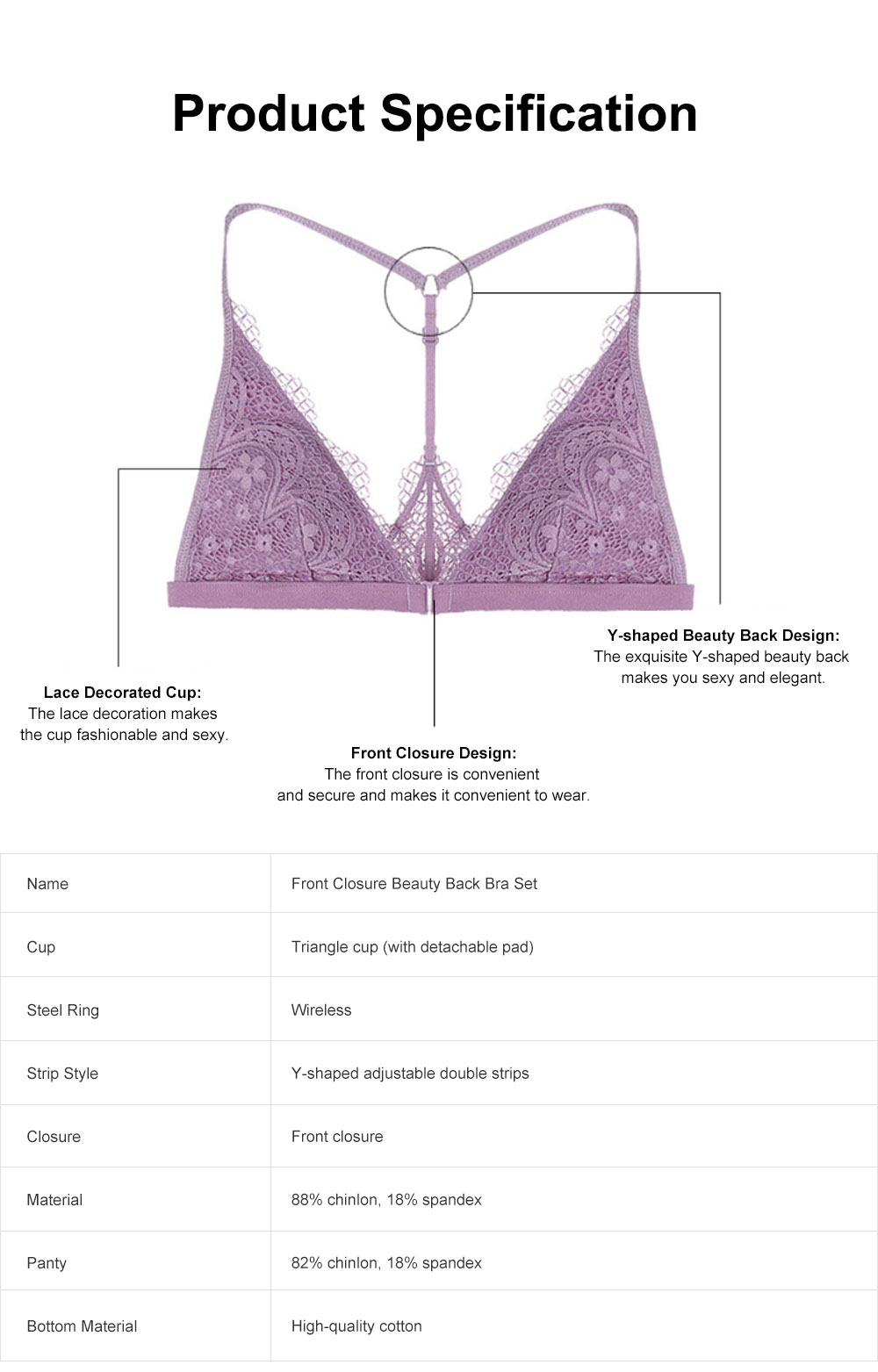 Women's Underwear Set Wireless Bra with Front Closure, Y-shaped Beauty Back Bra Set with Lace, Comfortable Bra and Panty Set 6