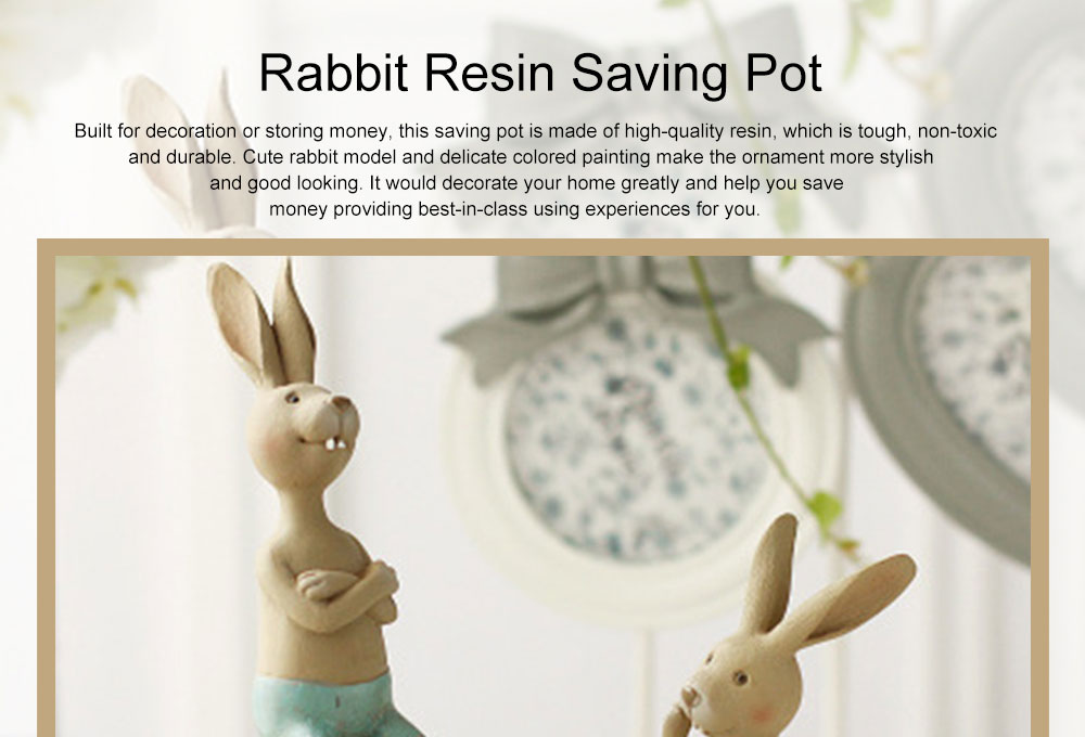 Cute Cartoon Rabbit Egg Carrot Model Resin Saving Pot Creative Bunny Easter's Day Table Ornament Decoration 0