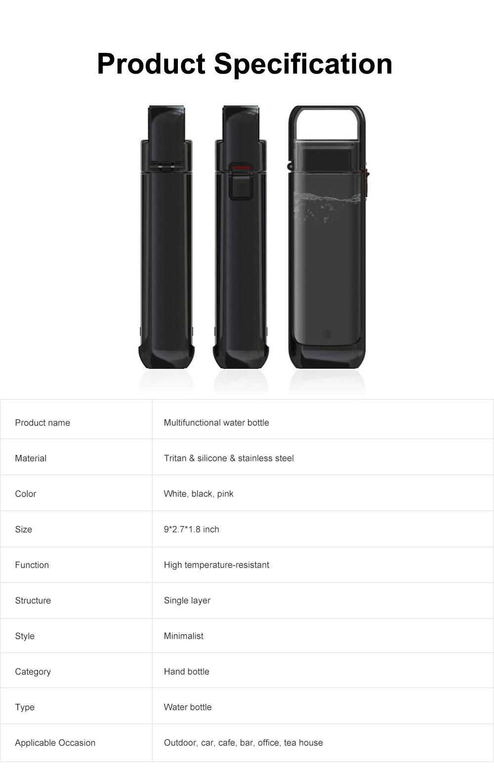 Portable Creative Transparent Water Bottle for Running Walking Hiking, Food Grade BPA Free PC Multifunctional Hand Bottle 8