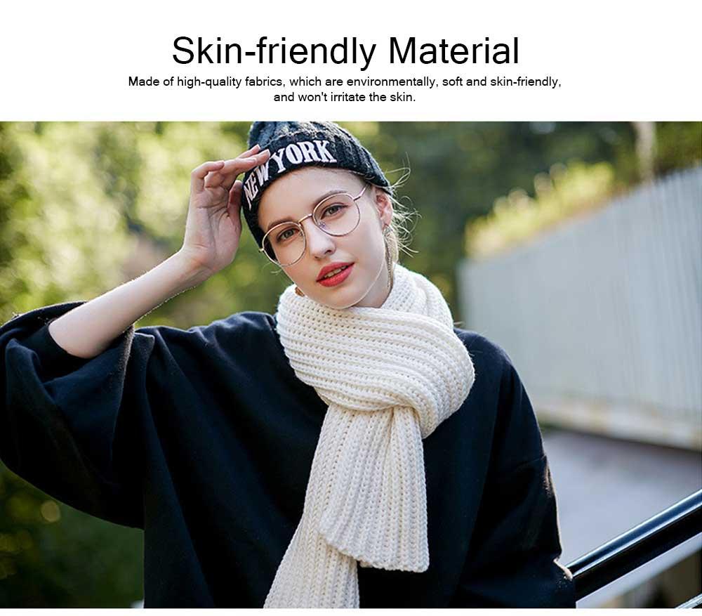 New Wool Scarf Soft Tippet Longitudinal Knitting for Women Men Keep Warm Skin-friendly Muffler Winter 1