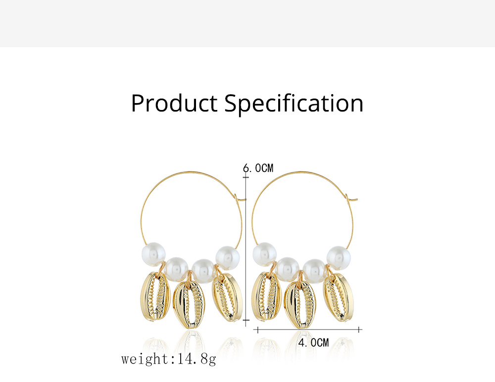 Pearl Shell Earring for Women Western Style Roundness Multicolor Optional Environment Friendly Ear Stud 6