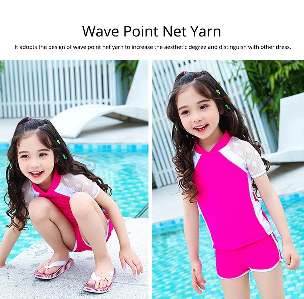 Two-piece Swimming Suit for Girls Wave Point Net Yarn Classic Color Separate Short-sleeve Swimwear 1