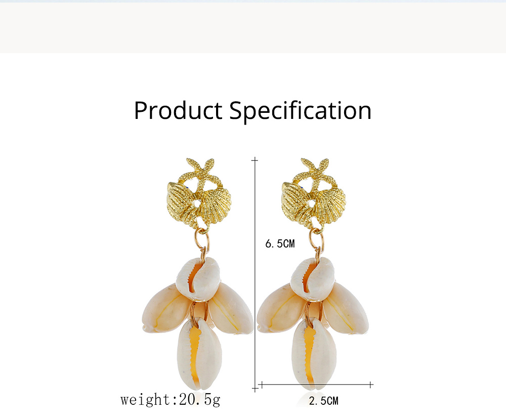 Cluster Shell Earrings for Women Marine Top Decoration Environment Friendly Color Shells Ear Stud, Western Style Pendant 6