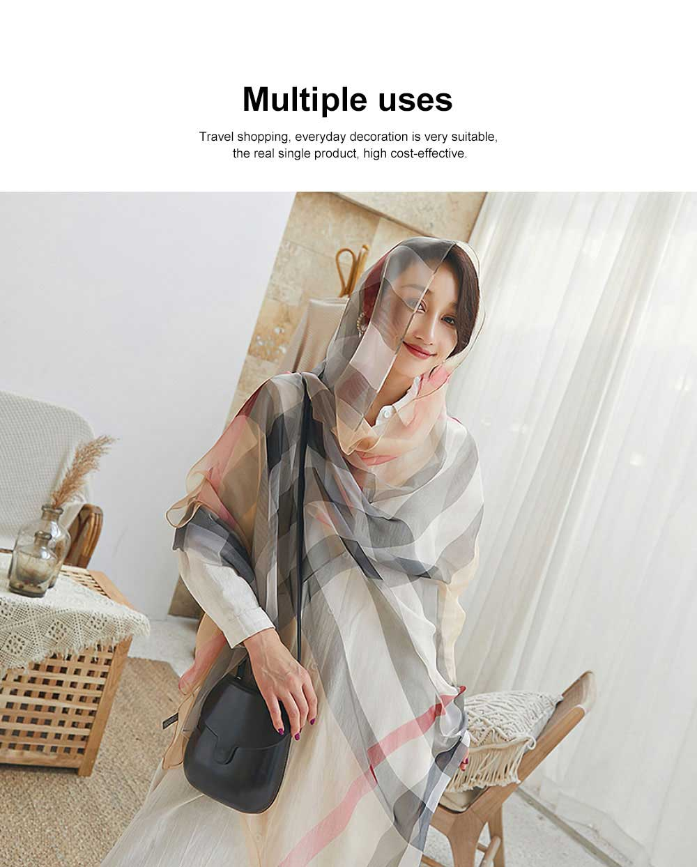 2019 Hot Gradient Grid Pants Scarf, New Sunscreen Scarf Shawl in Spring and Summer for Girl Lady 1