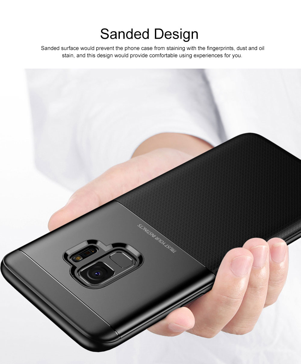 Quality TPU PC Carbon Fiber Sanded Phone Case for Samsung Galaxy S9 plus, Tough Skin-friendly Samsung S9 Mobile Phone Protective Back Cover 4
