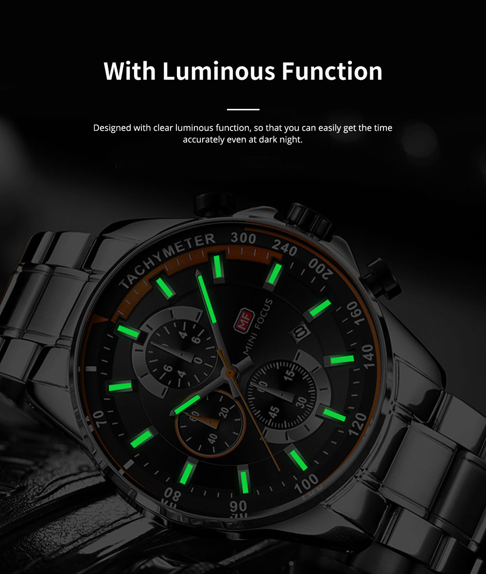 Speed Gauge Watch with Three Index Dial Calendar Men's Waterproof Luminous Quartz Watch with Stain Steel Watch Band 4