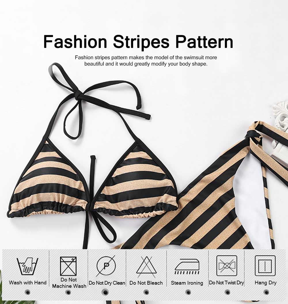Delicate Minimalist Stripes Pattern Ladies Swimsuit Bikini Elastic Skin-friendly Sexy Lace-up Swimwear for Ladies 5