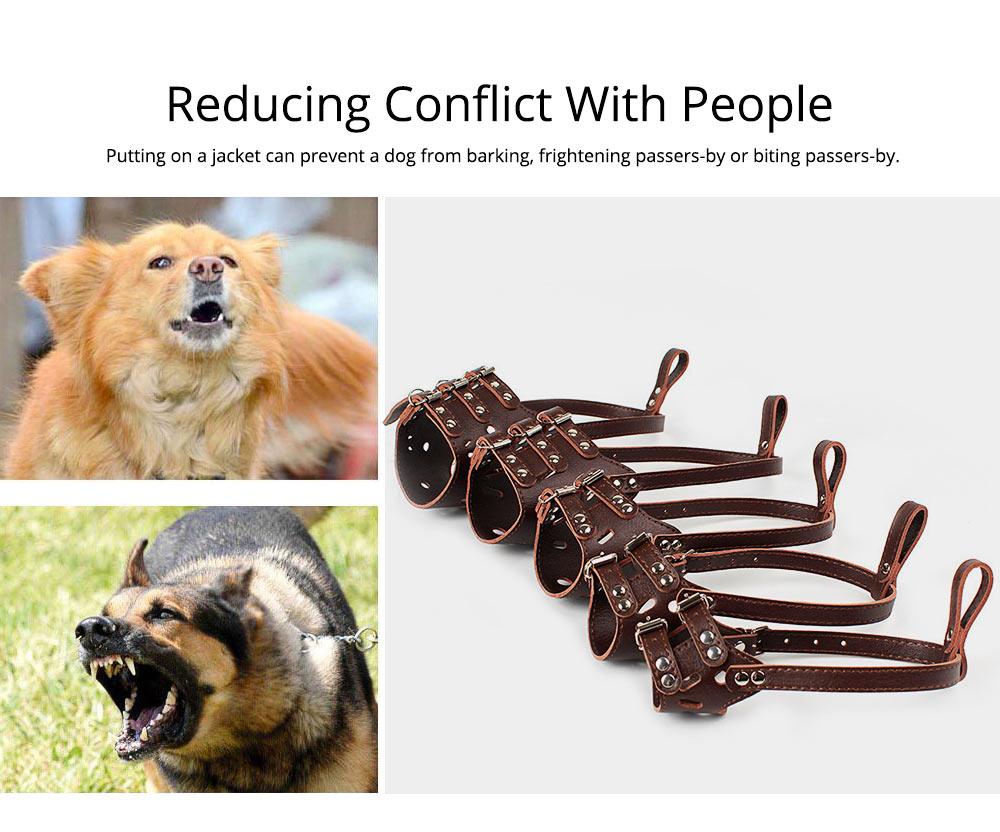 Adjustable Pet Dog Masks PU Leather Dog bark arrester Dog Stop Barking Bite-proof Cover 1