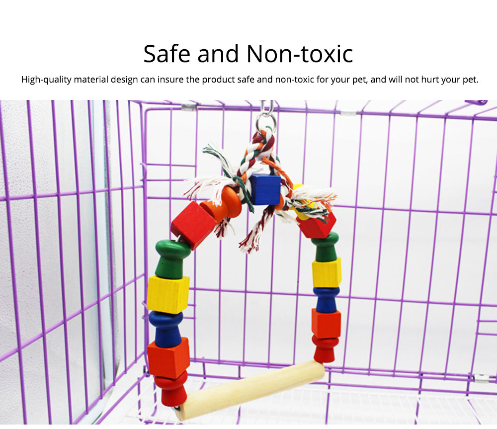 Solid Wood Climb Frame for Parrot Colorful Strap Round Pet Supplies, Safe Non-toxic Iron Ring Real Wood Pet Toys 4