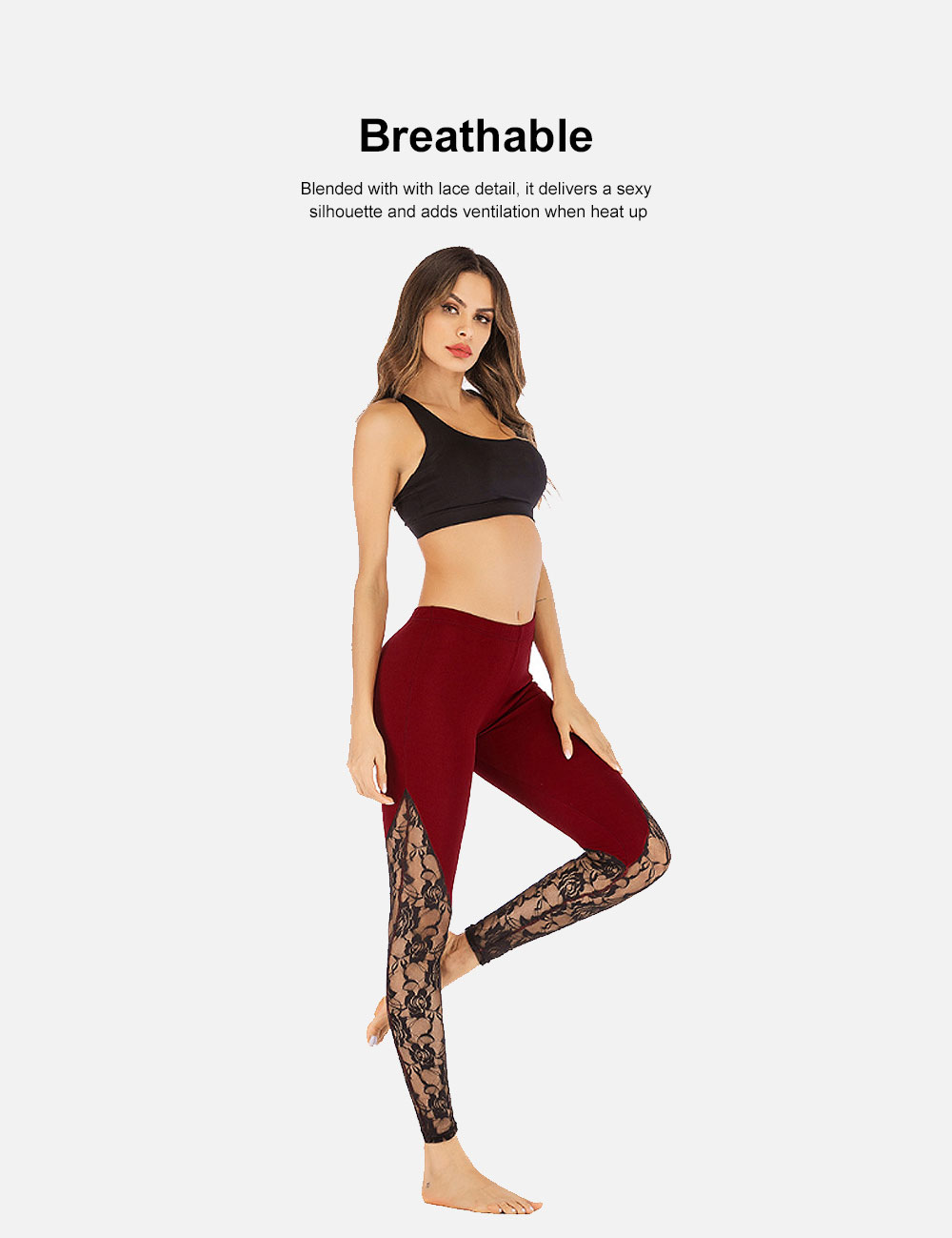 Trendy Lace Yoga Pant Fast-Dry Soft Polyester Trousers Elastic Waistband Breathable Sport Wear Pants for Women Lady 4 Colors 2