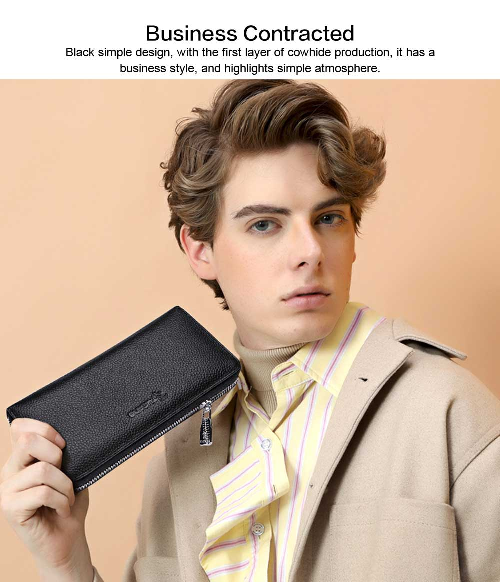 Male Vertical Leather Wallet with Thin Zip European & American Fashion Multi-card Clutch Wallet , Wallets for Young Men 2