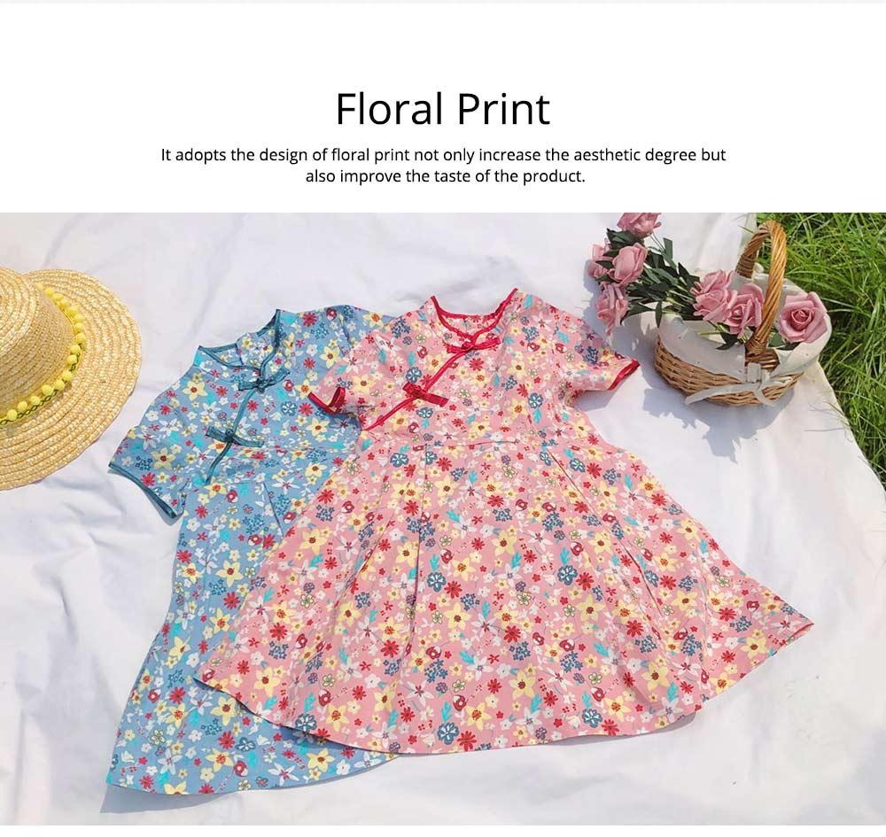 Girls Cheongsam Floral Print Retro Style Short-sleeve Skin-friendly Breathable One-piece Dress Summer 1