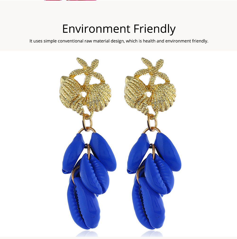 Cluster Shell Earrings for Women Marine Top Decoration Environment Friendly Color Shells Ear Stud, Western Style Pendant 4