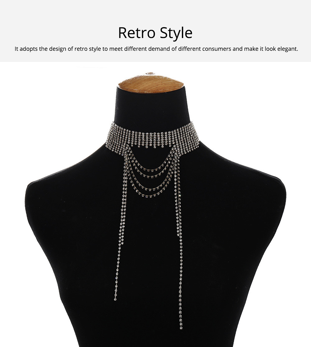 Retro Style Necklace for Women Set Auger Show the Clavicle Multilayer Alloy Material Collarbone Chain 1