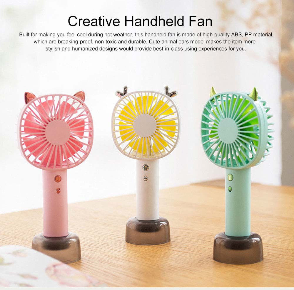 Creative Cute Animal Ears Model Portable Handheld Fan Outdoors Large Capacity Mini Fan with Night Light Base 0