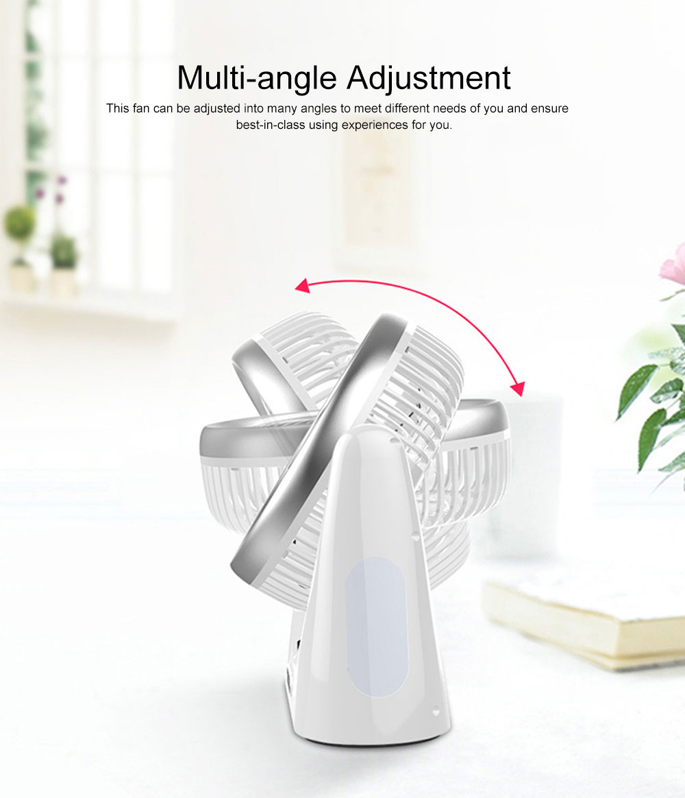 Portable Mini Chargeable Silence Table Cooling Fan Household Office Dormitory Rotation Circulation Fan 4